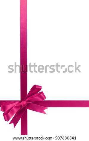 Pink bow gift ribbon long vertical
