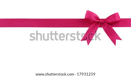 Pink bow isolated on white background - stock photo