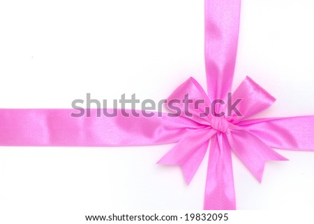 pink bow on white background - stock photo