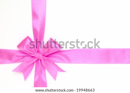 pink bow on white background