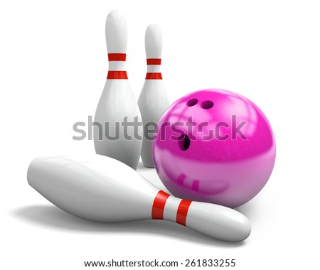 Pink bowling ball and three pins on a white background - stock photo