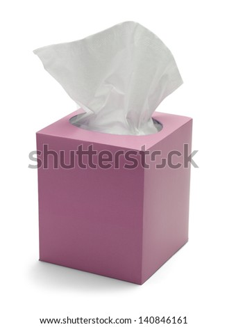 Pink Box of Tissues Isolated On White Background. - stock photo