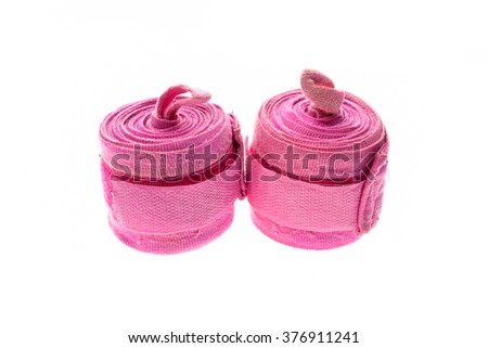 Pink boxing or MMA hand wraps or bandages isolated on white - stock photo