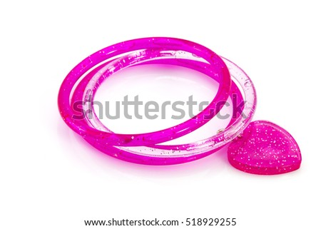 pink bracelet with hearts on a white background