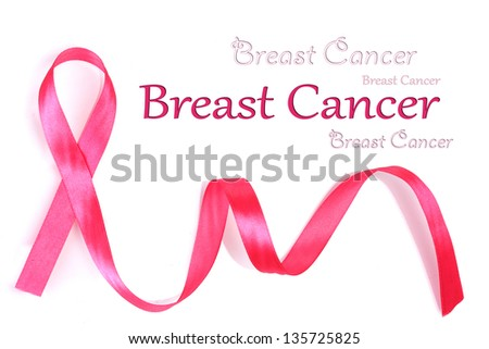 Pink breast cancer ribbon isolated on white - stock photo