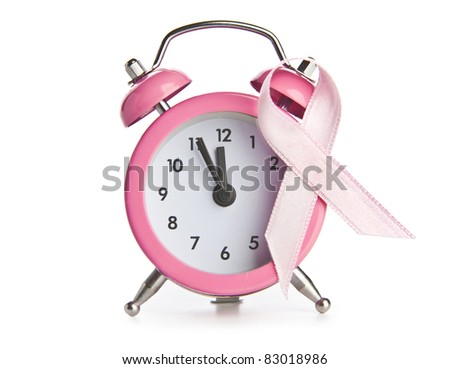 Pink breast cancer ribbon - Time to check - stock photo