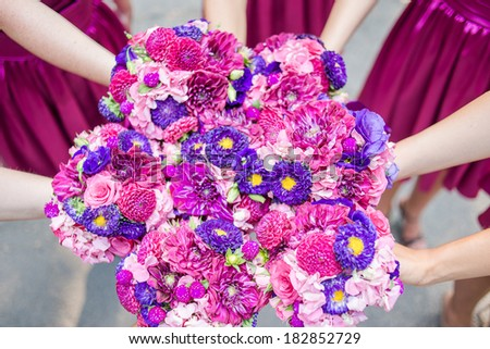 Pink Bridesmaid Posies - stock photo