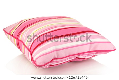 Pink bright pillow isolated on white - stock photo