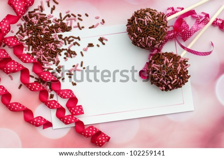 pink brown card background with cake pops - stock photo