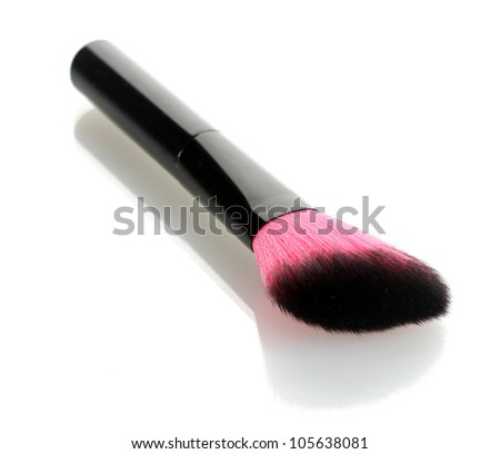 pink brush for make-up isolated on white - stock photo