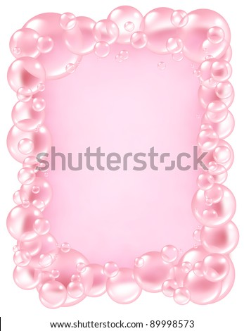 Pink bubbles frame as bath soap suds  bubble composition  with blank area in the middle for text as foam in many circular sizes as clean dainty pretty symbols of washing and freshness. - stock photo