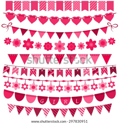 Pink bunting and garland set for girls. Raster version - stock photo