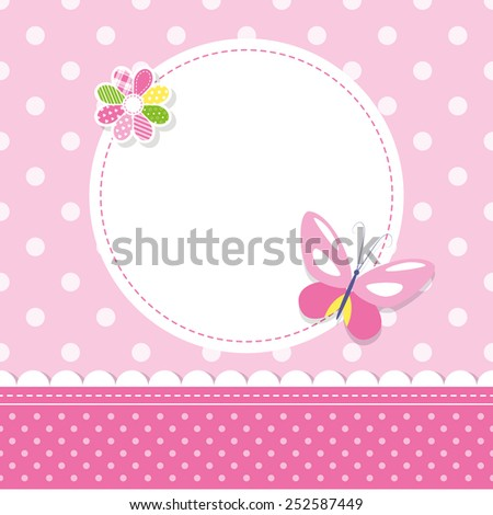pink butterfly baby girl greeting card illustration - stock photo