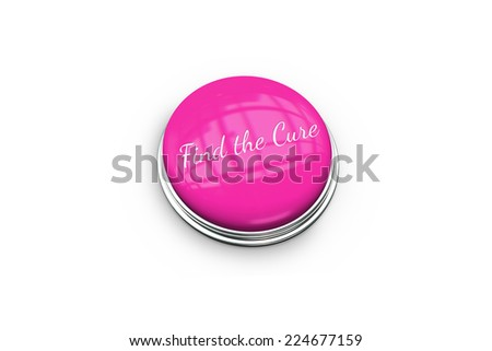 Pink button for breast cancer awareness on white background