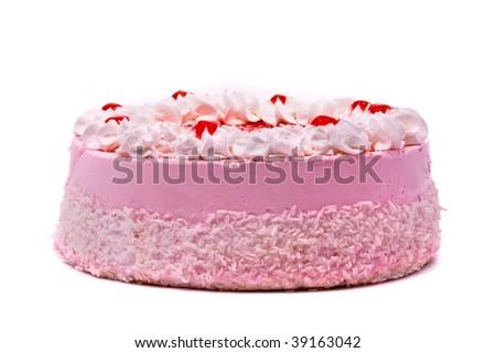 Pink cake isolated on white background - stock photo