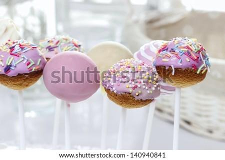 Pink cake pops - stock photo