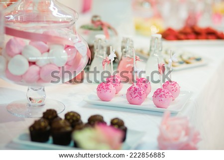 Pink cake pops on a dessert table at party or wedding celebration - stock photo