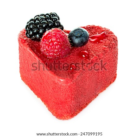 pink cake with berries isolated on white background - stock photo