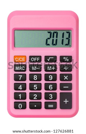 Pink calculator display number 2013 isolated on white - stock photo
