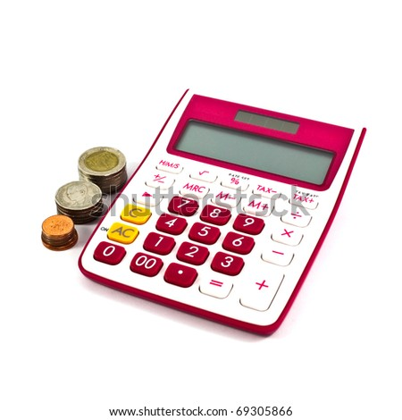 pink calculator isolated on a white background - stock photo