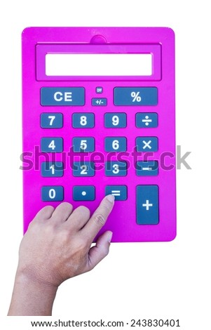 pink calculator isolated on white background with white space on the screen, hand pushing equal button, with white space on the screen - stock photo