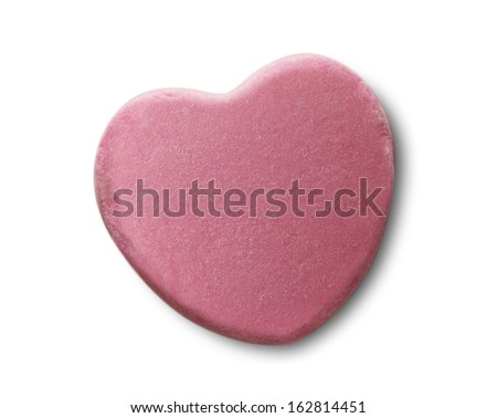 Pink Candy Valentines Heart Isolated on White Background. - stock photo