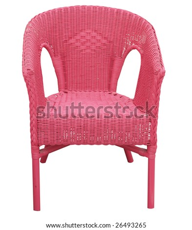 pink cane chair isolated with clipping path