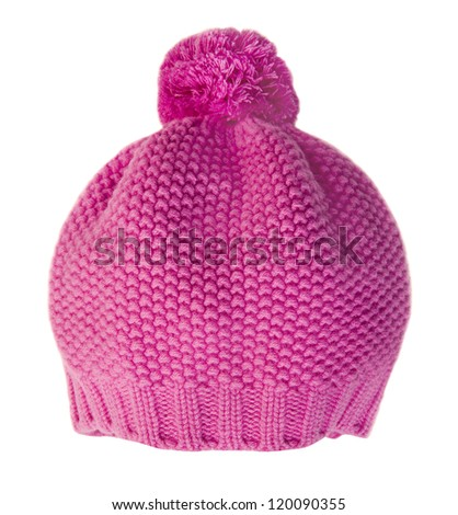 pink cap isolated on white - stock photo