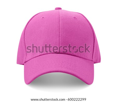 Pink cap isolated on white background.