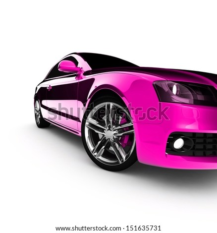 pink car white color on a white background. with shiny paint. design concept. 3d rendering modern car - stock photo