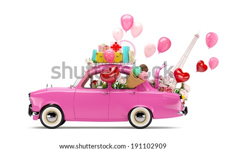 Pink car with symbols of love - stock photo