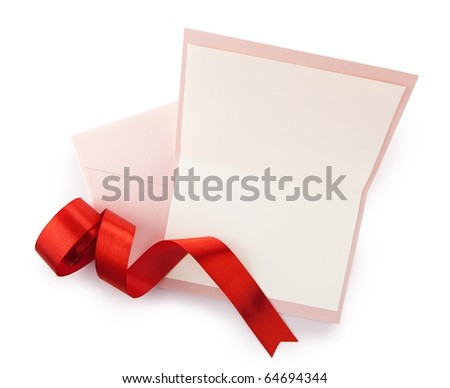 Pink card and envelope and red ribbon, isolated on white. - stock photo