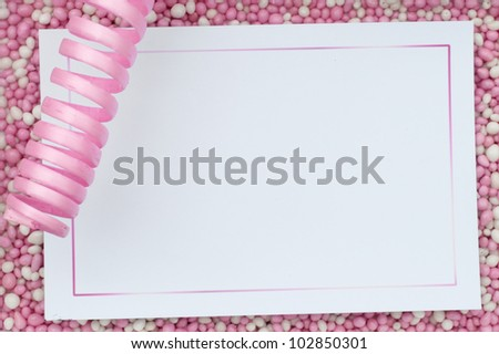 Pink card background with rusk - stock photo