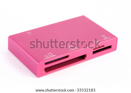 Pink card reader on white background