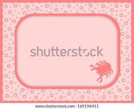 Pink card with crab - stock photo