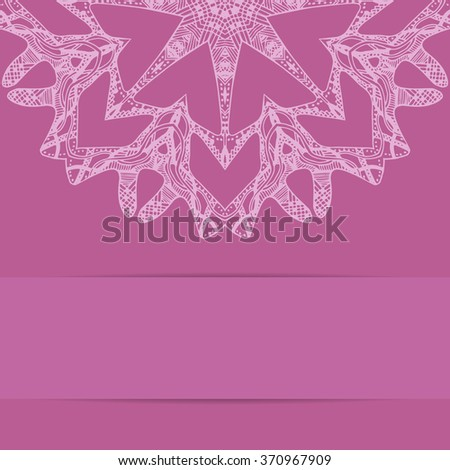 Pink card with zentangle round pattern and copy space below - stock photo