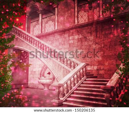 Pink Castle Interior Fantasy Backdrop - stock photo