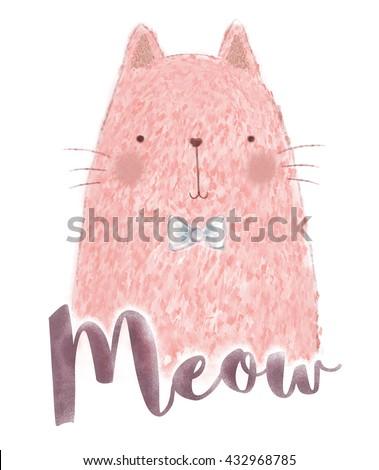 pink cat print / T-shirt Graphics /  funny animal mascot / birthday surprise party / cartoon cat print  - stock photo