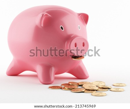 Pink ceramic piggy bank isolated on white