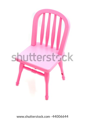 Pink chair isolated on white - stock photo