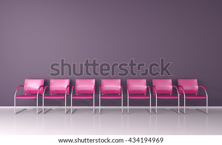 Pink chairs on in the waiting room 3D render