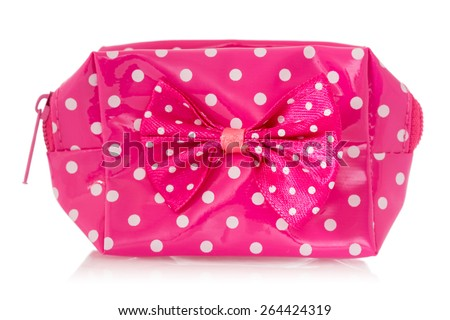 Pink change purse isolated on white background - stock photo