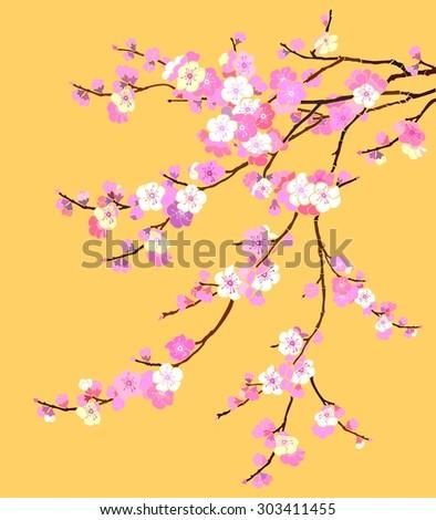 Pink Cherry blossom, sakura flowers isolated on golden background.  Illustration - stock photo