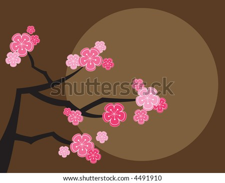 pink cherry blossoms and moon on brown (raster) - illustrated background