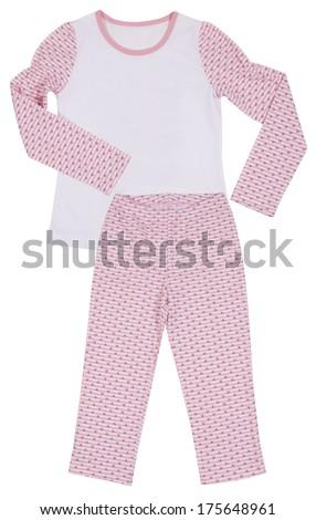 Pink childrens girls pajama set isolated on white background - stock photo