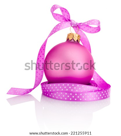 Pink Christmas ball with ribbon bow Isolated on white background - stock photo