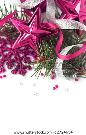 Pink christmas composition close-up - stock photo