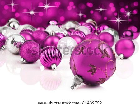 Pink christmas ornaments with star background - stock photo