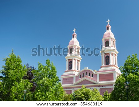 Pink church with two cross in Rancagua, Chile - stock photo