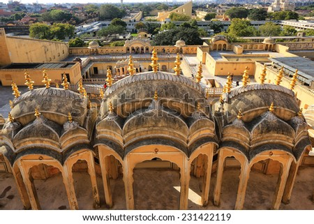 Pink City, Jaipur. view from top - stock photo